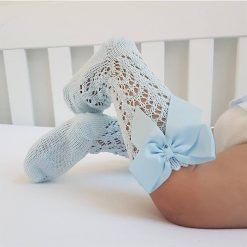 Blue crochet knee high with bow